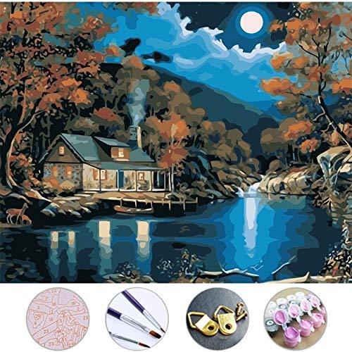 ZYCD Unterstützung Benutzerdefinierte DIY Ölgemälde Eine Hütte auf dem See Bild an der Wand Acrylgemälde von Zahlen auf der Leinwand Modulare Gemälde Dekor (40*50cm/16*20inch)