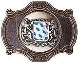 Fronhofer Trachten Schnalle Gürtelschnalle, Bayerisches Wappen blau weiß Löwen Schließe, 4 cm 18280, Größe:One Size, Farbe:Messing