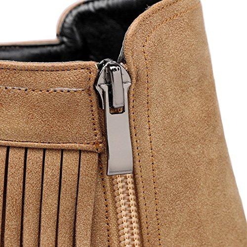AgooLar Damen Weiches Material Reißverschluss Rund Zehe Stiefel mit Fransig Aprikosen Farbe