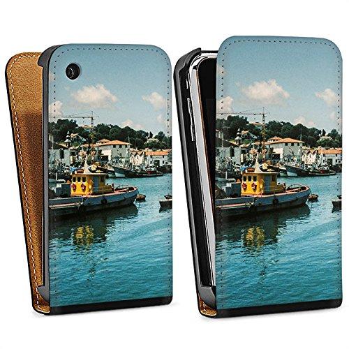 Apple iPhone 4 Housse Étui Silicone Coque Protection Port Côte Bateaux Sac Downflip noir