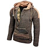 Rusty Neal Top Herren Winter Kapuzenpullover Pulli Sweatshirt Jacke RN-13277, Größe:L, Farbe:13290-1 Khaki/Camel