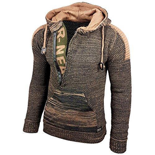 Baxboy Kapuzenjacke Herren Winter Top Kapuzenpullover Reißverschluss Pulli Sweatshirt Jacke RN-13277 Neu, Größe:2XL, Farbe:13290-1 Khaki/Camel