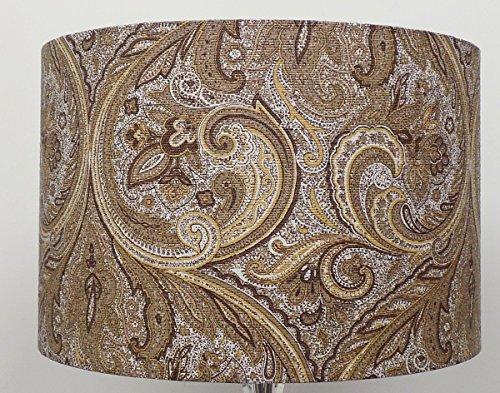 Paisley Gold/Creme Leinen Stil Zylinder/Drum Lampenschirme, Deckenleuchte, 35 cm (Lampenschirm Leinen Creme)