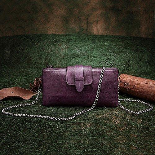 Longue main dans le porte-monnaie en cuir vintage fait main original Purple