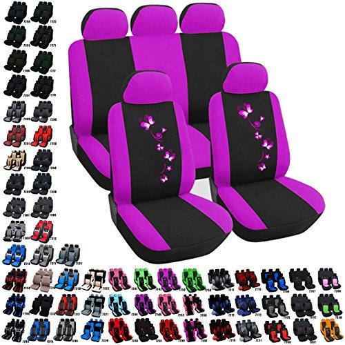 Preisvergleich Produktbild Woltu AS7253-a Auto Sitzbezug Sitzbezüge Schonbezüge Universal komplettset mit Butterfly Schwarz-Violett