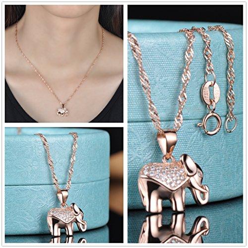 Yumilok Roségold 925 Sterling Silber Zirkonia Elefant Charm Armband Halskette Schmuck Set Armkette & Kette mit Anhänger Set für Damen Mädchen - 3