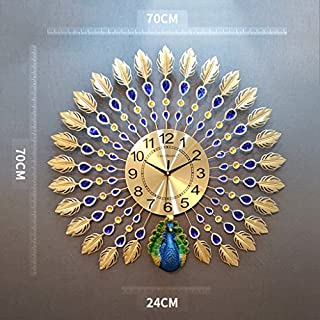 DFHHG ® Pfau Wanduhr, Wohnzimmer im europäischen Stil Kreative Uhren Home Stumm die Uhr Moderne Taschenuhr im chinesischen Stil Mode stumm ( Farbe : #10 )