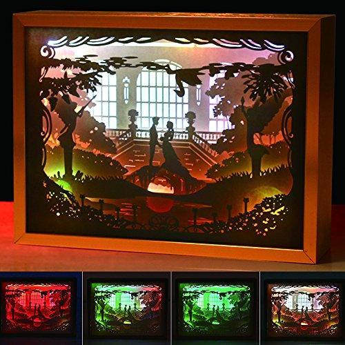 3D Nachtlicht Schatten Papier Geschnitzte Lichter Acryl Illusion Bilderrahmen Dekoration LED Lampe, USB Schlafzimmer Dekorative lichter (Paar) (Acryl Schatten)