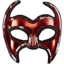 WIDMANN 03644 - máscara de diablo con lentejuelas frontera para los adultos, de color de