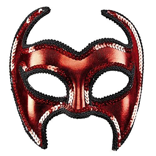 Widmann 03644 - Maske Teufel mit Paillettenrand für Erwachsene, metallfarbene