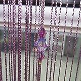 Cortina Púrpura Perlas de Imitación Cristal Decoración para Puerta Ventana