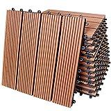 33x Deuba® WPC Fliesen Klassik terrakotta - 30x30cm- ~3m² -【Farb-, Muster- und Mengenauswahl】 Terassenfliesen Gartenfliesen Balkonfliesen