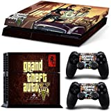Grand Theft Auto 'V' GTA 5 PS4 Playstation 4 Console + 2 Controllers Skin Sticker Vinyl Decal Set by Skins 'R' Us