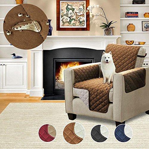 Aolvo Sofa Shield-Quilted Sofa Protector Slip Werfen Wasserdicht Decke Decke Hund Katze Haustier Wasserdichte Bett Stuhl Couch Sofa Sitzer Matte Möbel Zubehör (eine Person) (Loft-wattierung)