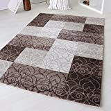 Designer Teppich Modern Kariert Kurzflor Design In Grau Schwarz Weiß und Beige Braun (80 x 300 cm, Beige)
