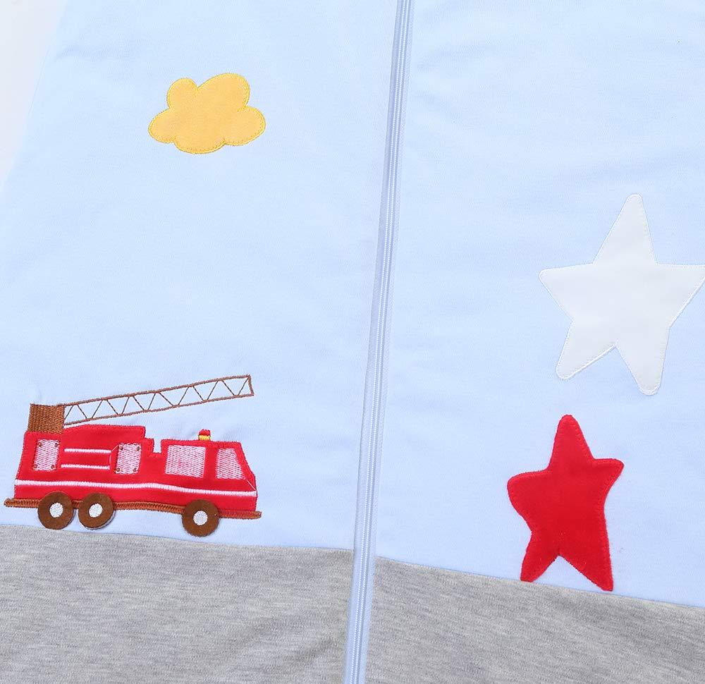 schlabigu Saco de Dormir para bebé, de algodón, Gris y Azul, para niños y niñas. – 2,5 TOG Feuerwehrauto. Azul/Gris Talla:130CM/3-6Jahre