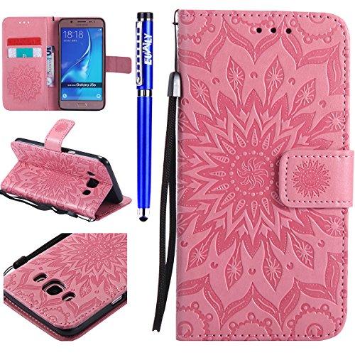 FESELE Kompatibel mit Galaxy J5 2016 Leder Handy Hülle, Sonnenblume Mandala Blumen Muster Flip Case Wallet Case Flip Schutzhülle Brieftasche Hülle Klapphülle mit Kartenfach,Rosa