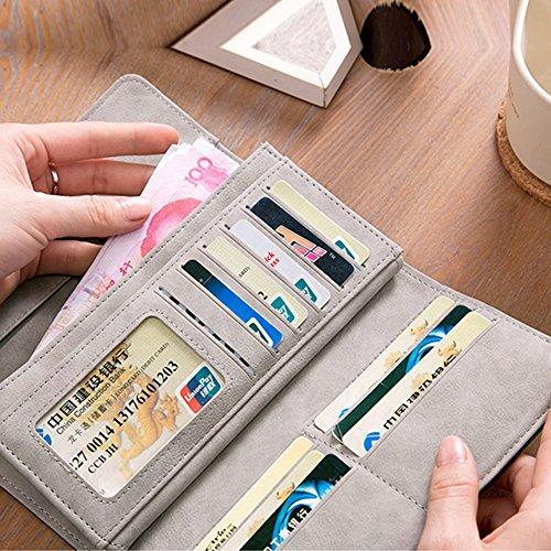 Portafoglio Sveglio Woolala Per Le Donne Nubuck Grande Capacità Multi Slots Slot Carte Porta Carte Holder Borsa Lunga, Blu Blue