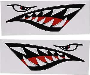 Yosoo Health Gear Kayak Boot Haifisch Zahn Mund Aufkleber Haifischmaul Aufkleber Haifisch Aufkleber Für Auto Kajak Kanu Fischerboot Lkw Dekoration Sport Freizeit