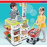 deAO Toys SPM-W - Supermercado con carrito de compras y comida de juego