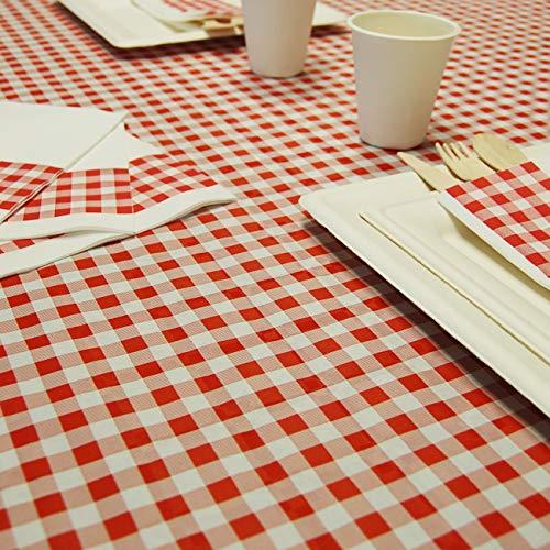 Thouy Nappe en Papier Vichy Carreaux Rouge et Blanc en Rouleau 1,18 x 25 m