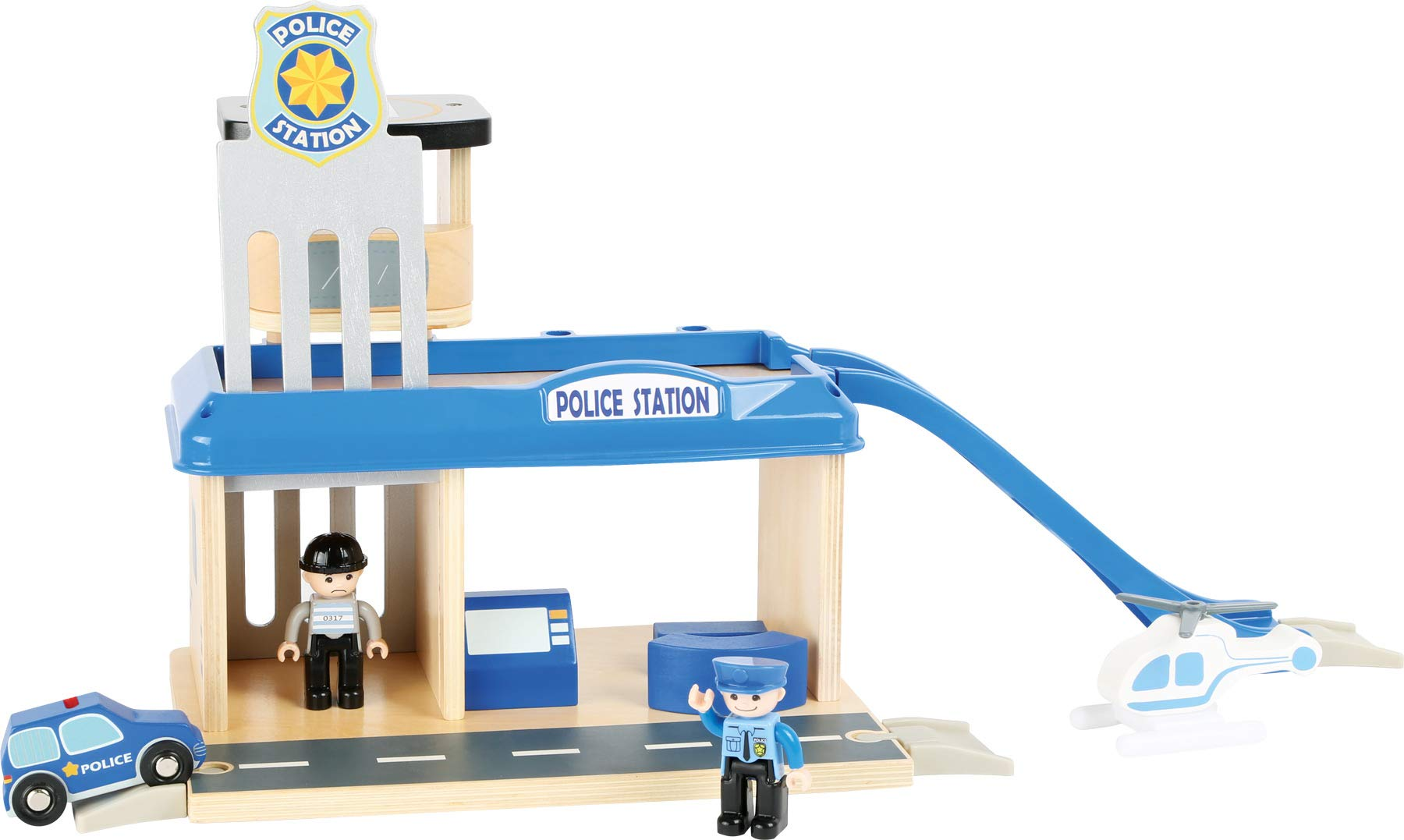 small foot 10797 Police station with accessories, including a policeman, robber, helicopter and car, from 3 years Small Foot World An impressive police station in a strong, vivid police blue Many extras like a policeman, a robber, a car and a helicopter Compatible with all common railway brands 3