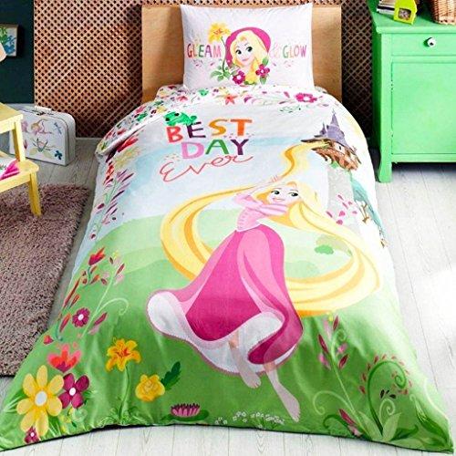 DACHUI Home Rapunzel Traum Mädchen lizenziert Bettbezug, 100% Baumwolle Ranforce Stoff Single Größe 3-teilig Bettwäsche Set
