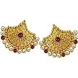 SURATDIAMOND Red Pearl Stud Earrings for Women