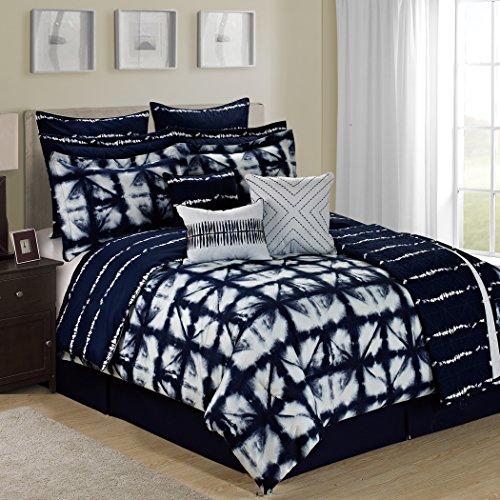 Tie Dye Plaid 12Stück Tröster Set–Marineblau/Weiß/Mehrfarbig, Navy/White/Multicolor, King Size (12 Stück Tröster)