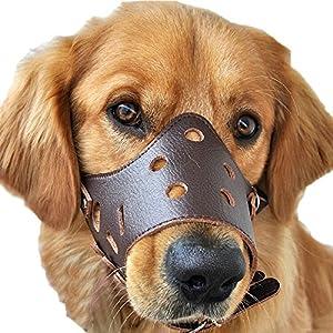 Cuir Mixte pour chien Poignée réglable anti mordre aboyer mangent beiss Muselière Panier marron
