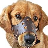 Leder Hunde Maulschlaufe Verstellbar Anti Beißen Bellen Fressen Beisskorb Maulkorb Braun (XL)
