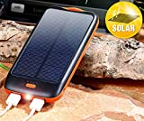 revolt Powerbank mit Solarzelle: Solar-Powerbank PB-100.s mit 10.000 mAh, Ladestand-Anz, 2x USB (Solar-USB-Power-Banks)