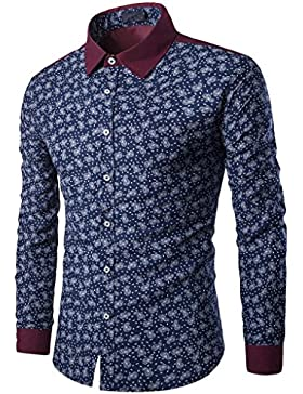 Mens Casual camisa de manga larga negocio Slim Fit camiseta Blusa de impresión superior DE DOLDOA