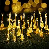 Solare Natale Luci, Ubegood 30 LED Fairy String Light Stringa Natale Lampada Decorativa Forma di Goccia d'acqua Impermeabile per All'aperto, patio, Festa di Natale, Giardino, Casa, Matrimonio (Bianco Caldo) - Acqua Nuvoloso