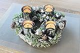 Kamaca Adventskranz aus massiven Holzzweigen mit Deko wie Tannenzweigen und Glas Kerzenhaltern inklusive 4 LED Teelichter Advent Weihnachten - 2