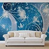 Blau Silber Blumenzusammenfassung - Forwall - Fototapete - Tapete - Fotomural - Mural Wandbild - (2363WM) - XXXL - 416cm x 254cm - VLIES (EasyInstall) - 4 Pieces