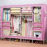 Kleiderschrank Lothes Schrank Portable Home Massivholz Lagerung Veranstalter Stoff Oxford mit Schlafzimmer Schränke Kleidung & Garderobe Lagerung Faltbare Schränke, G, 80 '' * 70 ''