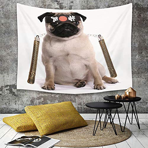 Hunde Karate Kostüm - Tapestry, Wall Hanging, Mops, Ninja Welpe mit Nunchuk Karate Hund Eastern Warrior inspiriert Kostüm Mops Bild d,wall hanging wall decor, Bed Sheet, Comforter Picnic Beach Sheet home décor 150 x 200 cm