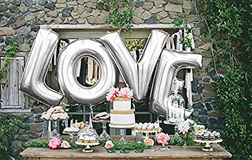 Love Balloon Set, 40 Inch Silber Foil love Ballon for Romantic Wedding, Bridal Shower, Anniversary,...