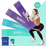 WOTEK Bandas Elásticas Fitness/Bandas de Resistencia, Set de 4 Colores Cintas Elasticas Musculacion y Fitness, Látex Natural
