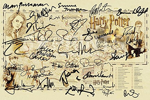 Harry Potter Hogwarts Ultimate Map Poster Mundo mágico Firmado PP por