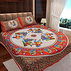 Ahmedabad Basics Jaipuri Collection 136 TC Cotton Double Bedsheet with 2 Pillow Covers - Paisley, Multicolour