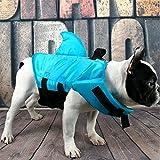 Blueqier Pet Impermeabile Salvagente per Cani Cani Piccoli Shark Pattern Sicurezza idrica in Piscina, Spiaggia, Canottaggio per l'inverno