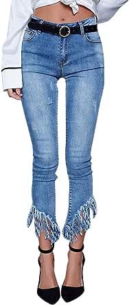 Women High Waisted Skinny Jeans Casual Pants Denim Ladies Tassel Trousers