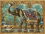 )–Malen nach Zahlen für Erwachsene Anfänger, 16x 20cm, Motiv: Elefant, mit Pinsel, Weihnachten, Dekorationen, Geschenke Without Frame