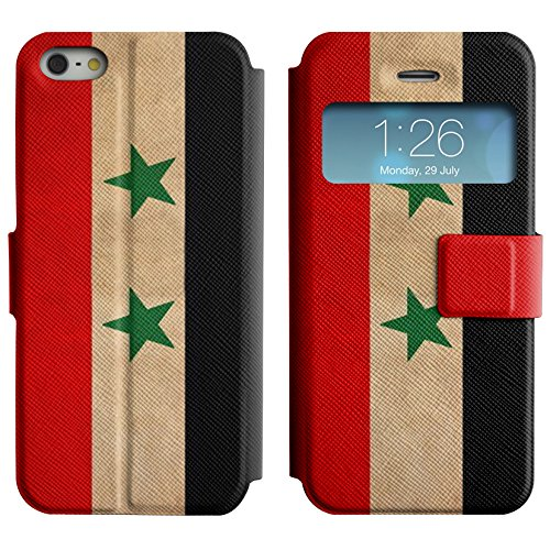 Graphic4You Vintage Uralt Flagge Von Iraker Irak Design Leder Schützende Display-Klappe Brieftasche Hülle Case Tasche Schutzhülle für Apple iPhone 5 und 5S Syrien Syrer
