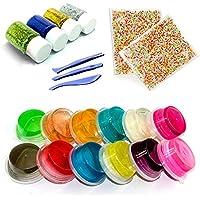 Amaza Bricolaje Arcilla Slime, 12 Colores Slime Crystal Mud 2 Paquetes Bolas de Poliestireno de Colores 4pcs Purpurina Manualidades 3 Craft Tools Juguete Educativo (Multicolor)