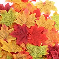 JBLCC 400 Pcs 8 Colors Artificial Maple Leaves Assorted Mixed Fall Leave - Thanksgiving Day Autumn Leaf Party Table Decor