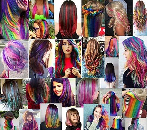2dcca538ae RHY 9PCS Principesse Party Evidenzia clip in estensioni capelli colorati  Costumi parrucca per ragazze americane / bambole ...