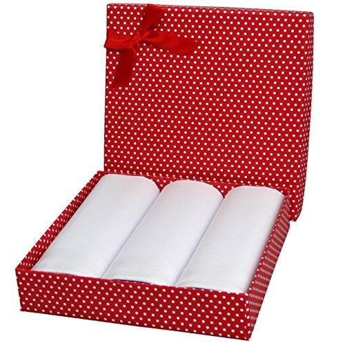 Weiße Baumwolle Damen Taschentücher (Taschentücher Set für Damen / Herren Geschenk Box - Stofftaschentücher Edel und elegant (Damen 3er Set (CH618)))